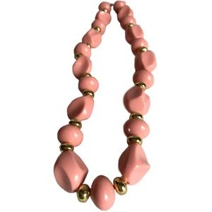 Vintage Pink and Golden Beaded Necklace